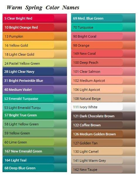 cool color names 54 best images about color analysis warm spring shaded