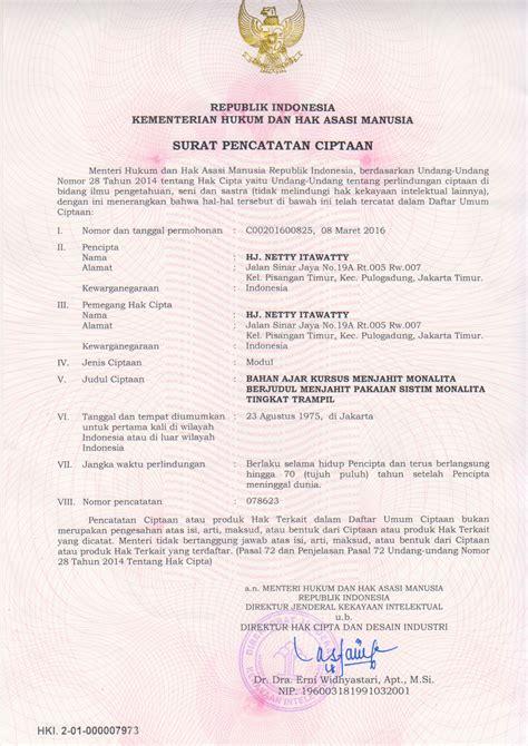 sertifikat hak merek dan hak cipta kursus menjahit monalita
