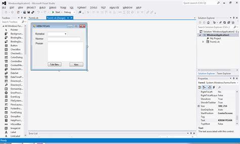 desain form vb cara membuat applikasi pengirim sms dengan vb net klik tau