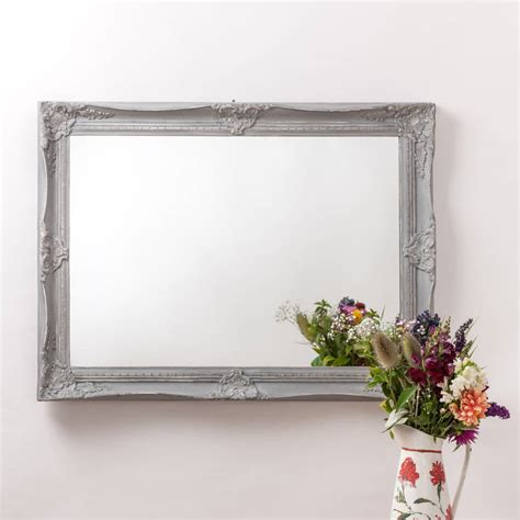 Handcrafted Mirrors - vintage ornate grey large mirror by crafted mirrors