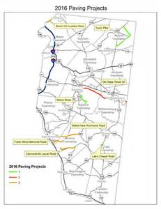 road map with county lines 30 of county roads to be resurfaced in 2016