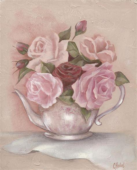 teapot roses painting by chris hobel