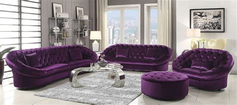 Romanus Purple Velvet Living Room Set 511046 Coaster Velvet Living Room Furniture
