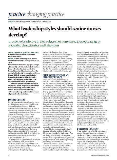 leadership skills  nurses