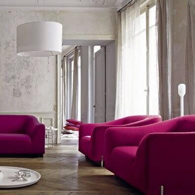 grey and pink sofa ligne roset stricto sensu didier gomez