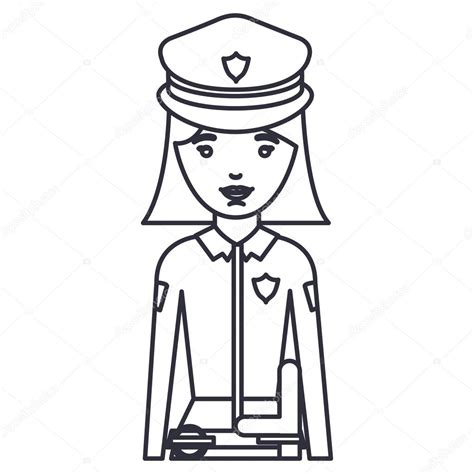 dibujos para colorear de policias isolated police woman cartoon design stock vector