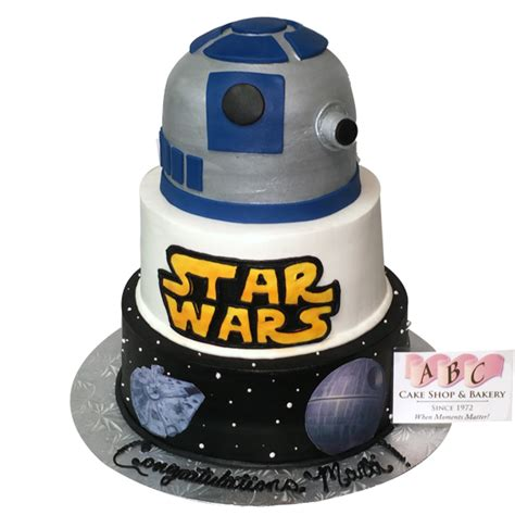 (1900) 3 Tier Star Wars Cake featuring R2D2 & the