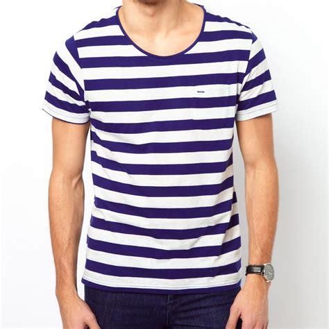 Blue Stripe T Shirt nautical blue stripe wide crew neck t shirt soletopia