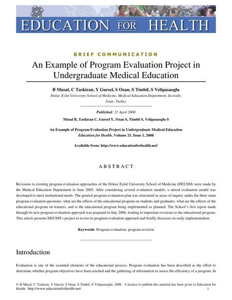 program evaluation pdf an exle of program evaluation project