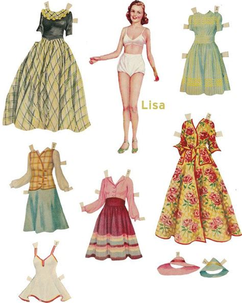 vintage paper doll digitial download by yourcraftephemera paper doll 18 vintage digital collage sheet by