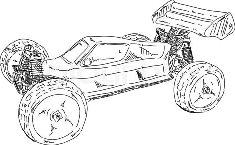 vector hand draw rc buggy car isolated on background