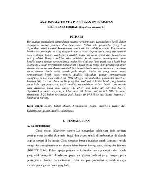 Benih Cabai Rimbun 3 analisis matematis pendugaan umur simpan benih cabai merah