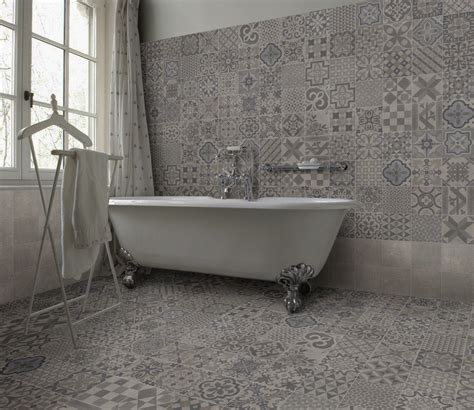 grey patterned bathroom tiles an eclectic design of warm grey patterns a clever mix of