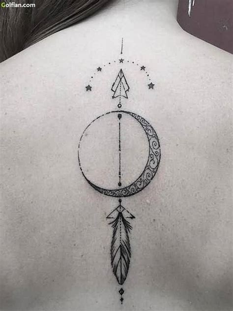 traditional arrow back tattoo design with feather