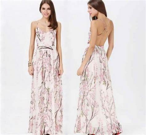 Maxy Ori Cherry Store New cherry blossom floral print backless maxi dress 183 fashion