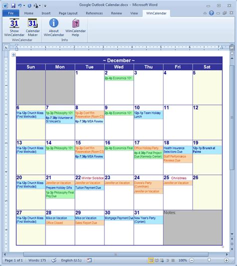 Microsoft Calendar Calendar Creator For Microsoft Word With Holidays