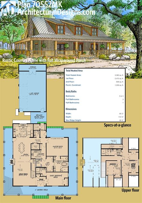 wrap around porch house plans architectural house plans plan 70552mk rustic country home with wrap around porch