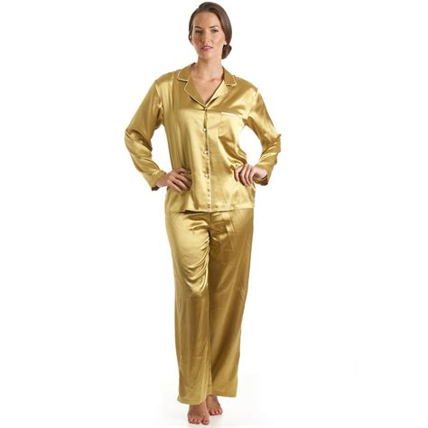 Nexx 33 Pajamas Code A womens luxury satin length gold pyjamas set