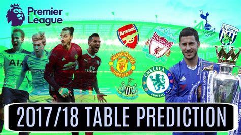 epl table predictions 17 18 premier league predictions 17 18 youtube