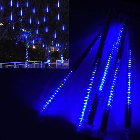 meteor shower lights blue 80cm led meteor shower snow falling light outdoor tree