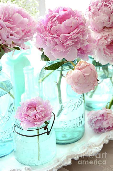 pink peonies in blue aqua mason ball jars romantic