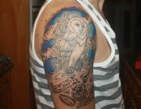owl tattoo half sleeve owl half sleeve tattoo by massicottesphotos on deviantart