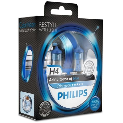 Lu Philips H4 60 55w philips h4 12v 60 55w colorvision blauw 12342cvpbs2