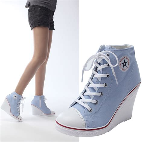 high heel sneakers new womens lace up canvas wedge high heel fashion