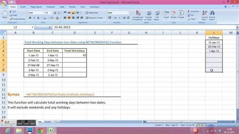 tutorial excel calculation excel tutorial calculate total working days between two