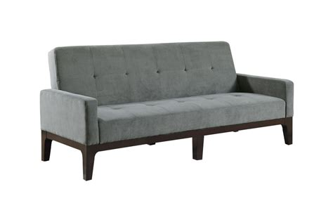 Gray Futon by Grey Microfiber Tufted Futon 300229