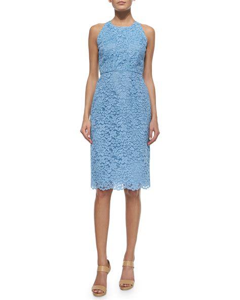 Lace Sleeveless Midi Dress lyst shoshanna sleeveless lace midi dress in blue