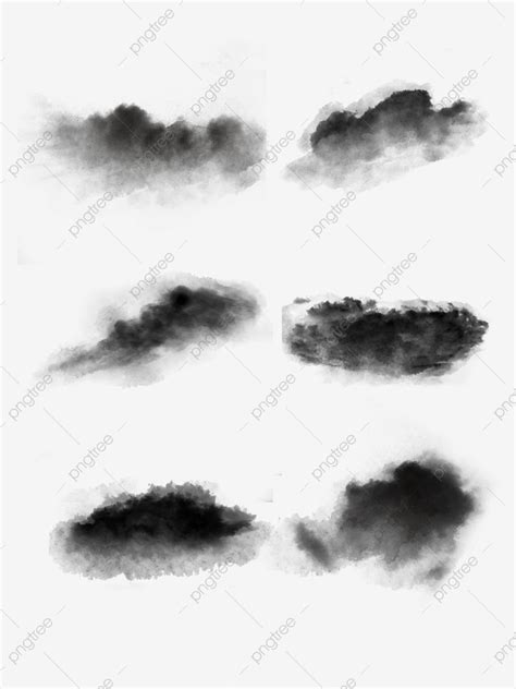 Black Chinese Style Painting Hand Painted Ink Cloud Set Of
