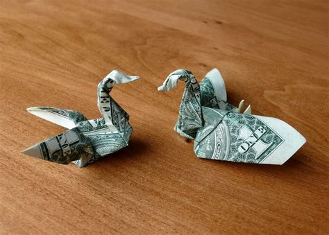 Dollar Bill Origami Swan - origami swan with dollar bill comot