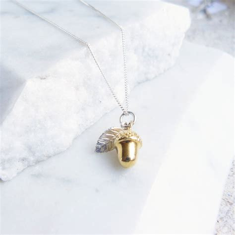 silver foil jewelry gold acorn with silver leaf necklace by lime tree design
