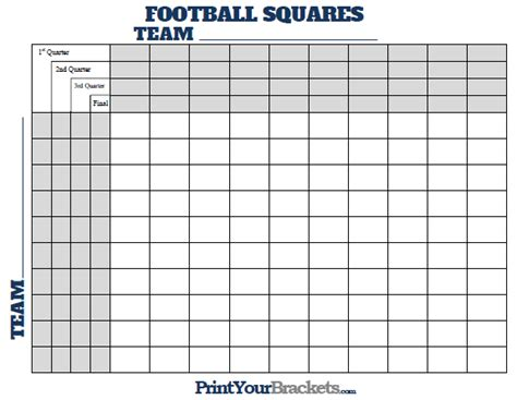 Free Football Square Template by Football Squares With Quarter Lines Printable Version