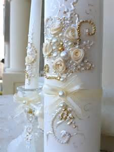 wedding unity candle set decorated with ivory ribbon