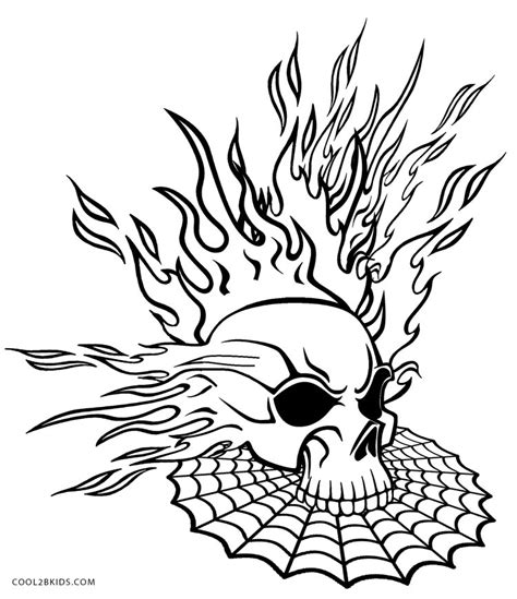 flaming skull coloring page printable skulls coloring pages for kids cool2bkids