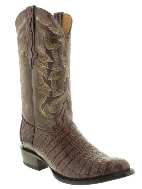 gator skin boots mens mens brown genuine crocodile alligator flank skin leather