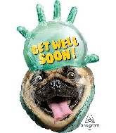get well pug bargain balloons jumbo get well mylar balloons and foil balloons