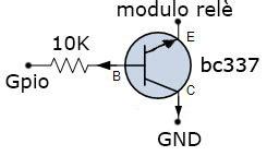 transistor bc337 come interruttore progetto raspberry comandare il modulo rel 232