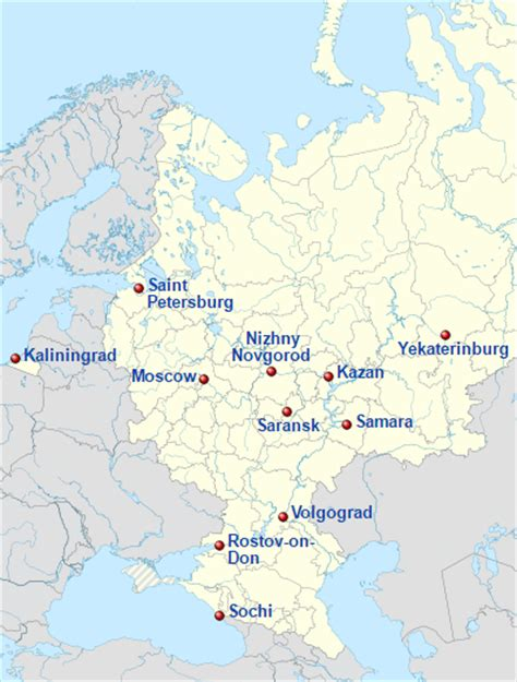 world cup 2018 host cities map world cup 2018 in russia
