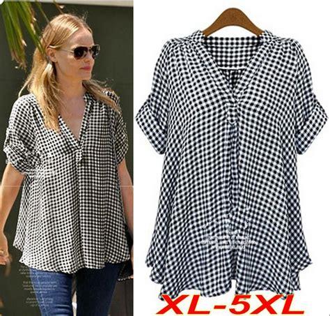 Top Blouse Bunga Kece Fit Xl xl 5xl plus size blouse plaid shirt v neck tops for big sleeve