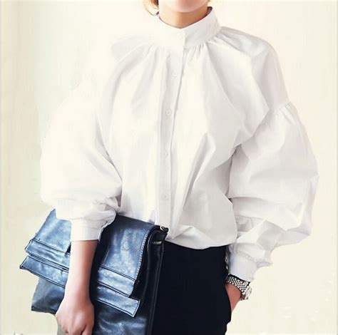 womens high collar blouses white sleeve blouse cotton