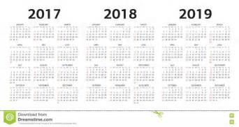 Colombia Kalendar 2018 Vector Calendar Templates 2017 2018 2019 Stock Vector