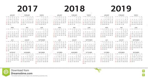 Calendar 2018 Illustrator Vector Calendar Templates 2017 2018 2019 Stock Vector