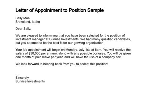 Appointment Letter Email To Employee Appointment Letter Documents