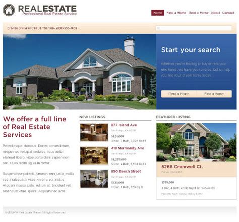 a showcase of themes for real estate websites