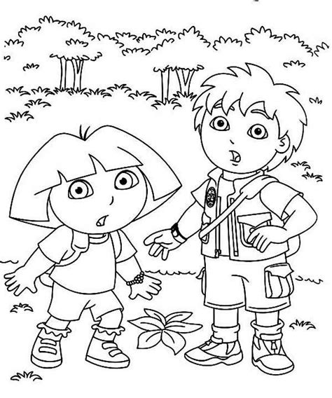 dora and diego coloring page 25 wonderful dora the explorer coloring pages