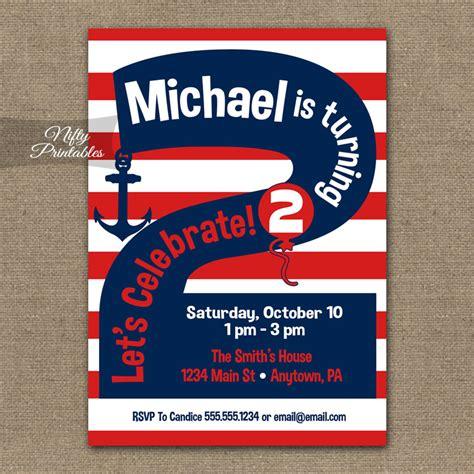 printable nautical birthday invitations 2nd birthday nautical red white blue invitations nifty