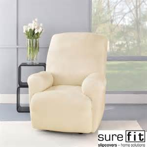 stretch plush cream recliner slipcover